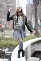 black leather Urban 1972 jacket - heather gray madewell socks - white silk H&M b