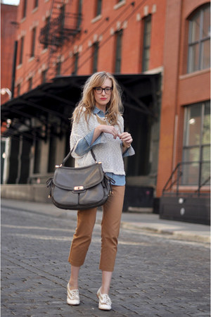heather gray coach bag - white Wanted shoes - camel H&M pants