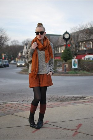 black calvin klein boots - beige American Apparel sweater - burnt orange Anthrop