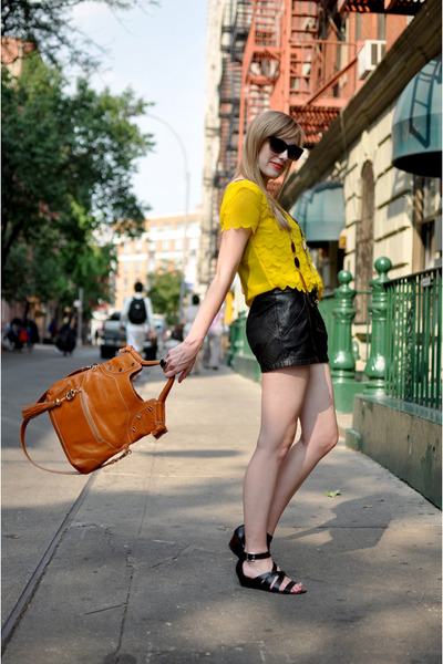 yellow H&M blouse - black leather pants Urban Outfitters shorts