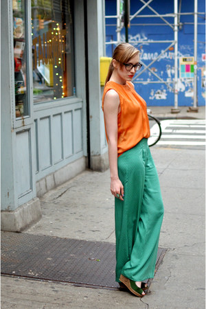 orange Zara blouse - teal Zara pants - green Zara wedges