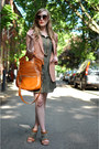 Olive-green-jupe-boutique-dress-peach-h-m-blazer-tan-forever-21-sunglasses-
