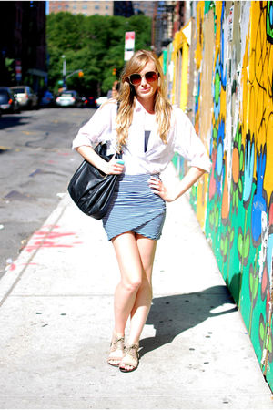 blue Nasty Gal skirt - white H&M shirt