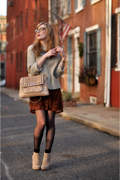 burnt orange Mink Pink dress - beige Vince Camuto boots - beige vince sweater