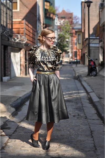 apart style dress - H&M tights - H&M skirt - oaknyc wedges