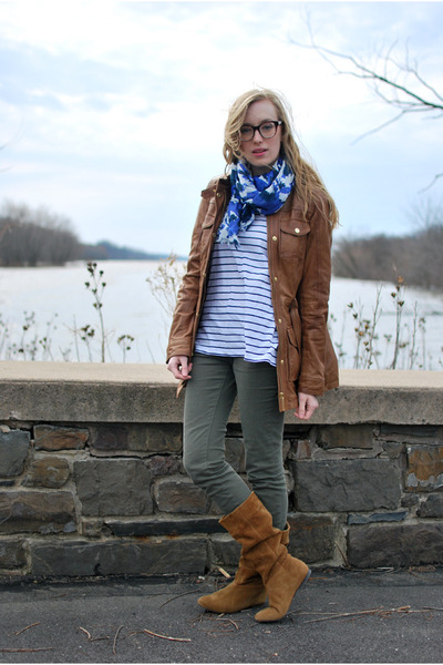 Brown Zara Boots Brown Leather Apart Style Jackets White Stripe