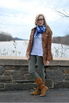 brown Zara boots - brown leather apart style jacket - white stripe lilla p shirt