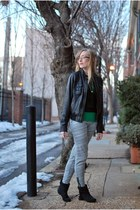 black Zara boots - heather gray madewell pants