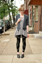 black Forever 21 leggings - heather gray Urban 1972 blazer - periwinkle H&M top