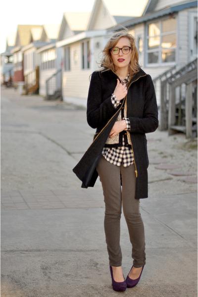 purple Payless heels - heather gray James Jeans jeans - dark gray Zara jacket