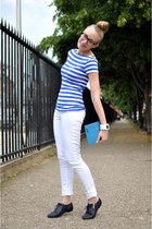 blue Wanted shoes - white Hudson jeans - blue coach bag - blue Zara top