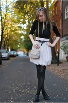 peach Zara skirt - black Forever 21 shirt - neutral linea pelle belt