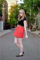 lilla p shirt - Calico belt - Zara skirt - modcloth loafers