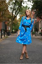 blue movintage dress - tan Anne Klein boots - black H&M belt