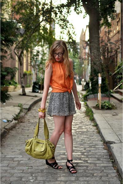 carrot orange Zara blouse - lime green Anthropologie bag