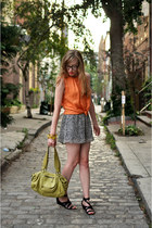 carrot orange Zara blouse - lime green Anthropologie bag
