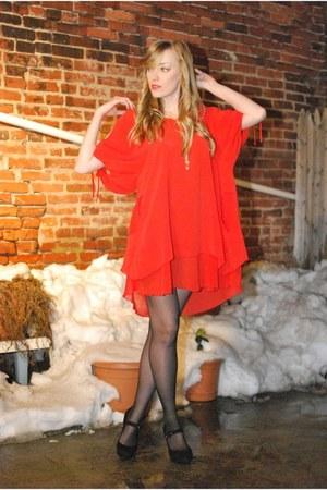 red asos dress - black Via Spiga heels