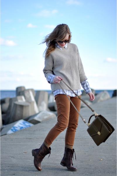 burnt orange James Jeans jeans - brown Steve Madden boots - tan vince sweater