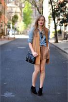 denim madewell blouse - Dolce Vita boots - Rebecca Minkoff purse