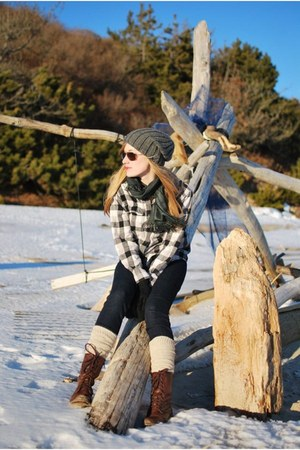 brown Steve Madden boots - charcoal gray Zara hat - beige American Apparel socks