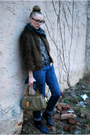 Brown-faux-fur-urban-outfitters-coat-navy-forever-21-jeans-olive-green-marc-