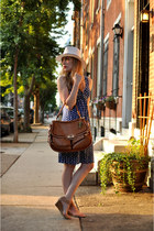 blue Target dress - white Target hat - camel coach bag - tan Nine West sandals