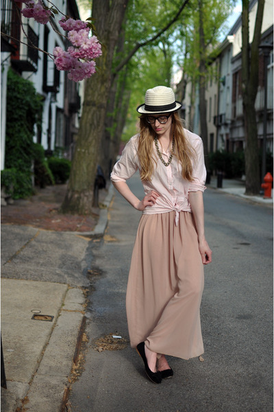 tan Hat Attack hat - light pink Target blouse - light pink American Apparel skir
