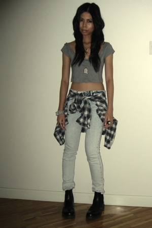 Zara shirt - Topshop jeans - Armani Exchange shirt - vintage Doc Martens boots