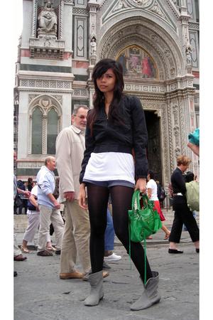 H&M jacket - Country Road shirt - random stockings - random from Hong Kong boots
