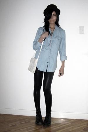 Topshop shirt - American Apparel leggings - doc martens boots - from Huntington