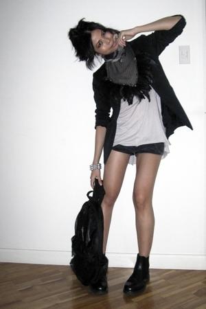 Zara scarf - calvin klein blazer - Zara shirt - American Apparel shorts - bench