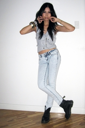 random from Hong Kong vest - Topshop jeans - doc martens boots - landmark access