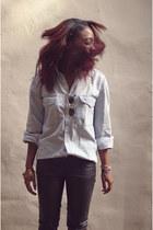 sky blue denim shirt vintage shirt - black UO pants