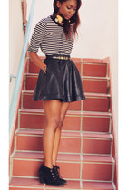 black leather skirt Stones skirt - off white striped H&M jumper