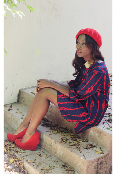 navy red knot vintage dress - red red beret H&M hat - yellow H&M necklace