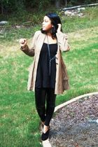 brown jacket - black top - black H&M leggings - black Mossimo shoes - silver DOT