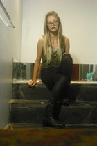 black boots - olive green singlet Miss Shop top - black leopard print dnagerfiel