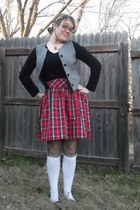 red plaid unknown skirt - black New York & Co shirt - black fishnet tights