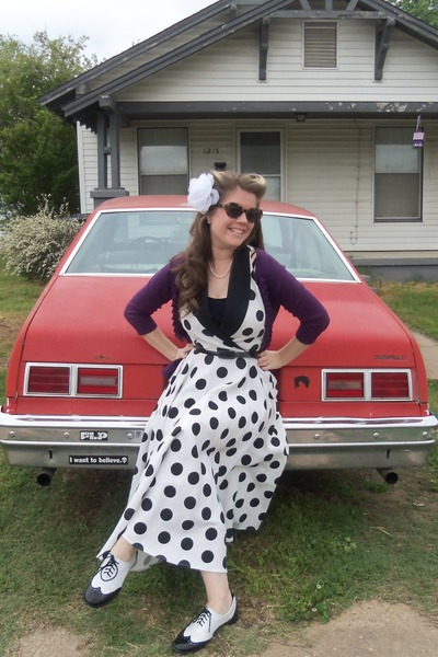 black wild diva shoes - white vintage dress - purple merona cardigan
