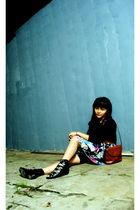 black dress - blue skirt - brown belt - black shoes - beige bracelet
