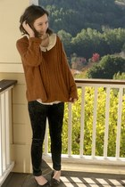 burnt orange knit Sheinside sweater - black crushed velvet H&M leggings