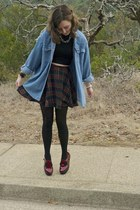 brick red flatform asos shoes - sky blue vintage shirt - navy plaid Etsy skirt