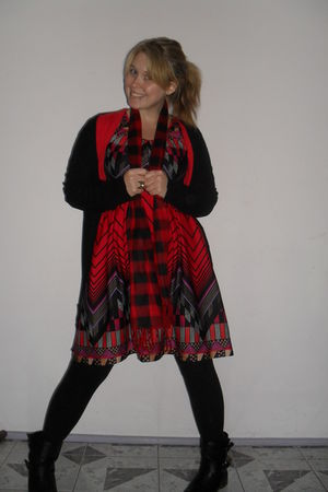 red handmade dress - red 2 shop scarf - red cotton on cardigan - black Kmart car