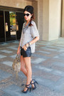 Buffalo-shorts-bcbg-sweater-burberry-heels
