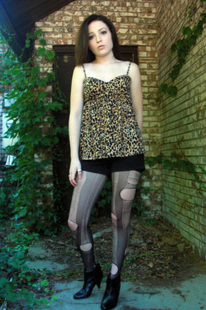 gold Forever 21 top - black H&M shorts - black tights - black Fioni boots