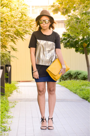 mustard clutch Zara bag - hologram detail Yves Identify shirt