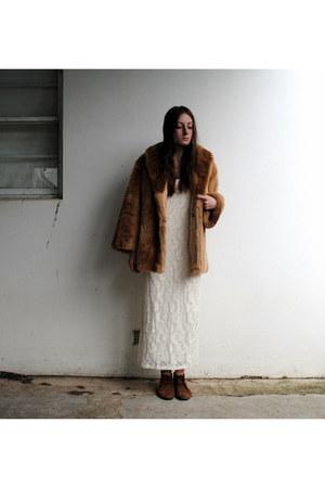bronze suede Italian Leather boots - cream lace Sportsgirl dress - tawny fur fur