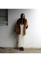 bronze suede Italian Leather boots - cream lace Sportsgirl dress - tawny fur fur