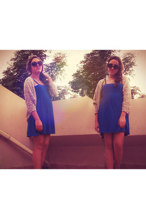 blue H&M dress - knitted Bershka cardigan