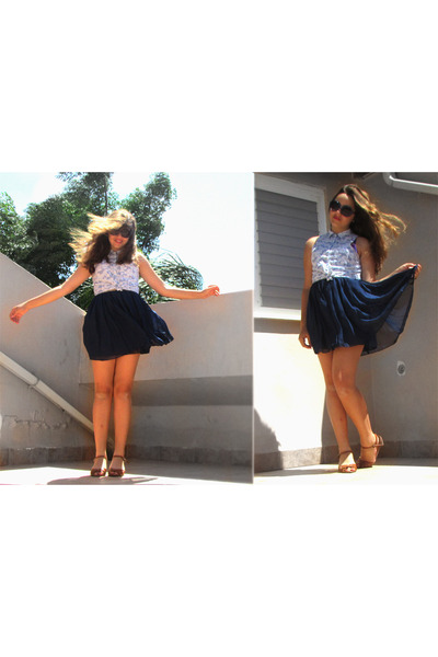 navy round ToGo sunglasses - light blue Bershka top - navy mini skirt Ebay skirt